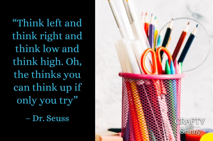 With Back To School in the air, sharing this quote from Dr Seuss with my own kids, helped them to get excited about going back to school. Many families will be experiencing back to school and to make it more fun, incorporate some fabulous craft!! Our inspiration this week focuses on Back To School Crafts that are super fun and easy to do. Enjoy! Please share. You will always look forward to Mondays, with our craft inspiration roundups -CraftyLikeGranny.com #backtoschoolcrafts #kidscrafts