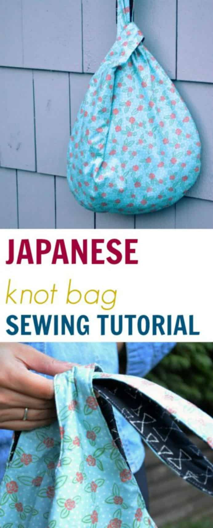 On the Cutting Floor shares a tutorial on how to make this simple Japanese Knot bag. It is reversible so you'll have two bags in one! Please share and make Mondays fun, get our craft inspiration delivered to your inbox - CraftyLikeGranny.com #sewingtips #sewingpattern #sew
