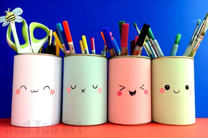 Kawaii is cute in Japanese and these simple and quick to make pencil holders are super cute! Follow Red Ted Art's tutorial on how to put them together. Please share and make Mondays fun, get our craft inspiration delivered to your inbox - CraftyLikeGranny.com #backtoschoolcrafts #papercraft #kidscraft
