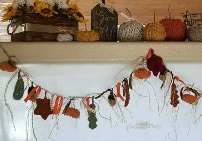 What an adorable feature this would be in your home. Breann from Hooked On Homemade Happiness has collated a number of her crocheted patterns to create this delightful fall themed garland. #crochet Please share. The best in craft delivered to your inbox every Monday - CraftyLikeGranny.com #homedecor #fallcrafts #diy