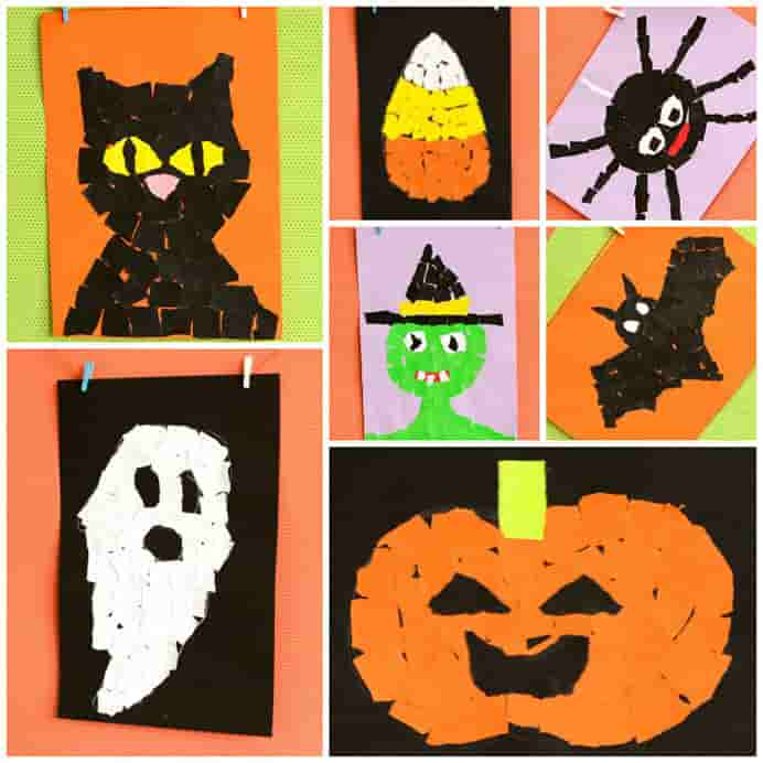 Halloween Torn Paper #Art Craft Ideas for Kids by Easy Peasy Fun. Spooky and cute ideas for kids to create. Please share. Sign up to our craft inspiration roundup newsletter and make Mondays more manageable. Fabulous Crafty ideas and projects delivered to your inbox - CraftyLikeGranny.com #halloweencrafts #papercraft #diy