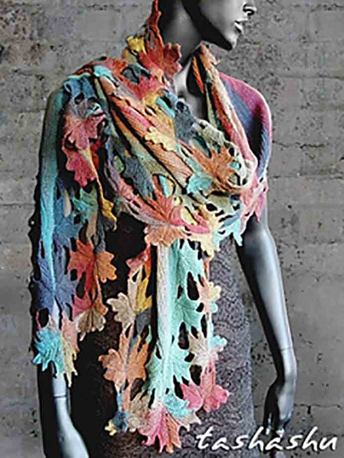 Knitted Shawl Autumn Lace. This design is way beyond my knitting abilities but I love the leaf design and the colors used in this shawl. Designer Svetlana Gordon has some exquisite designs many inspired by nature. Please share. Join now for creative craft inspiration. The best in craft delivered to your inbox every Monday - CraftyLikeGranny.com #knitting #knittingpattern #knit_guru