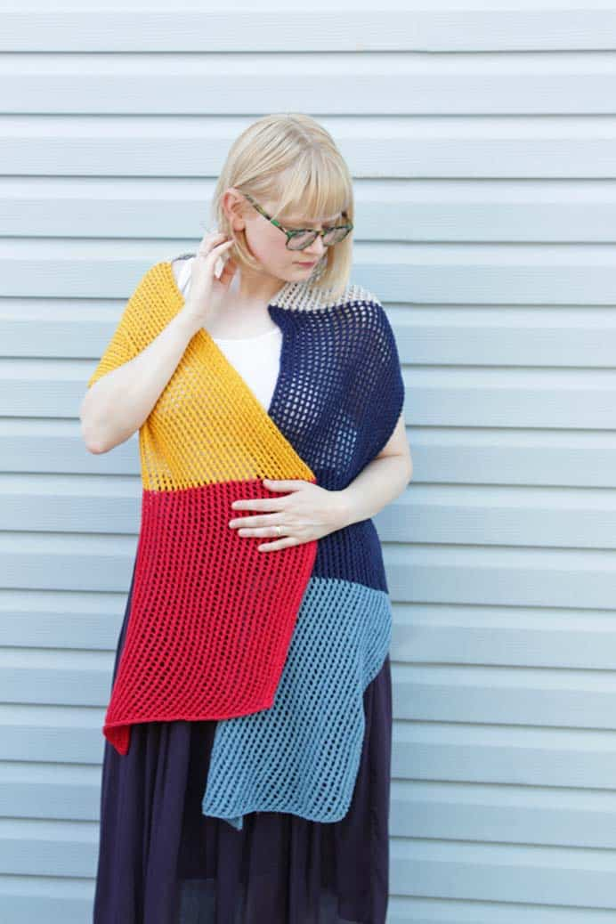 Wherever Wrap - Free Knitting Pattern. Using a simple lace motif design, Heidi from Hands Occupied shares her free knitting pattern. Easy to customize and of course use colors that you love. Heidi is a big fan of primary colors. Please share. Join now for creative craft inspiration. The best in craft delivered to your inbox every Monday - CraftyLikeGranny.com #knitting #knitting_guru #knit