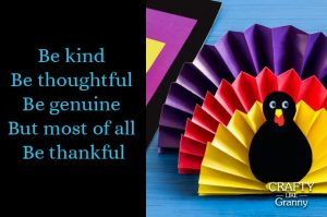 Be Kind Be Thoughtful Thanksgiving Crafts