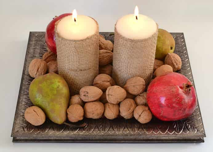 Burlap Candle Centerpiece by Mom Spark for Thanksgiving Table.Please share and make Mondays fun, get our craft inspiration delivered to your inbox - CraftyLikeGranny.com #thanksgivingcrafts #thanksgivingideas #crafts #diy