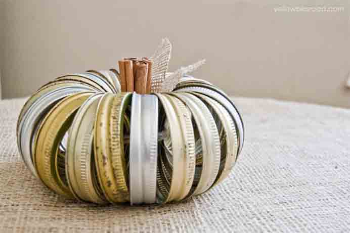 I love how people come up with fabulous craft ideas using recycled materials. Kristin from Yellow Bliss Road, has done just that and created a pumpkin from Canning Jar Lids. They came up a treat! Follow her tutorial to make one. Please share and make Mondays fun, get our craft inspiration delivered to your inbox - CraftyLikeGranny.com #halloweencrafts #craft #diy