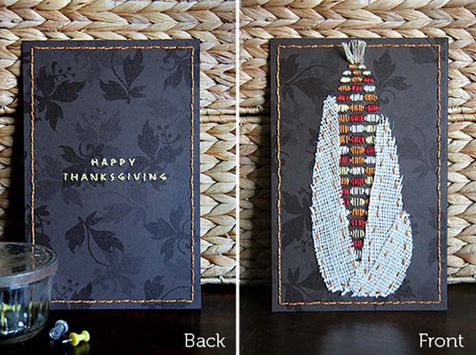 Corn Embroidery Thanksgiving Card. A lovely handmade card to give out at Thanksgiving. Nessy Designs has created the downloadable pdf and tutorial to help you create one. Please share. Make Mondays more manageable and sign up for our craft inspiration newsletter. Delivered to your inbox - CraftyLikeGranny.com #thanksgivingcrafts #DIYcards #embroidery