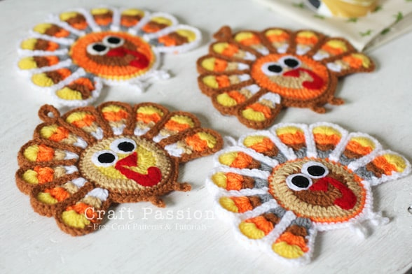 Crochet Turkey Coasters. Friends and family will be suitably impressed to see a set of these coasters on your Thanksgiving table! Craft Passion has all the instructions and helpful pics to make them. Please share. The best in craft delivered to your inbox every Monday - CraftyLikeGranny.com #thanksgivingcrafts #crochetpattern #crochet