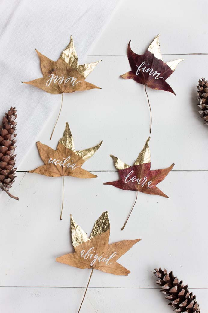 DIY Thanksgiving Place Cards. Guests will love these handmade fall leaf place cards. A wonderful use of something found in nature. Follow the tutorial on Lark and Linen.Please share. You will always look forward to Mondays, with our craft inspiration roundups -CraftyLikeGranny.com #Thanksgivingcrafts #diy #crafts
