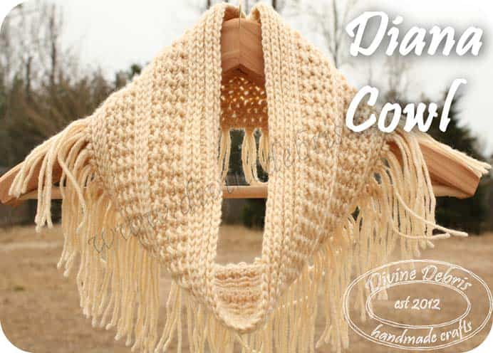 Go Boho - Diana Cowl Pattern. I love the fringe on this cowl. You will need to know how to work into the back third loop of the hdc. This pattern is worked in the round. Follow the free crochet pattern on Divine Debris. Please share. Make Mondays more manageable and sign up for our craft inspiration newsletter. Delivered to your inbox - CraftyLikeGranny.com #crochet #crocheting #freecrochetpattern