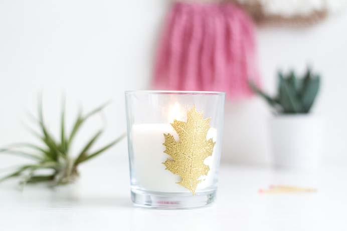 DIY Embossed Autumn Leaf Candle. This would make a beautiful addition to your table for Thanksgiving. Follow Fran's tutorial on Fall For DIY. Please share and make Mondays fun, get our craft inspiration delivered to your inbox - CraftyLikeGranny.com #Thanksgivingcrafts #diy #crafts