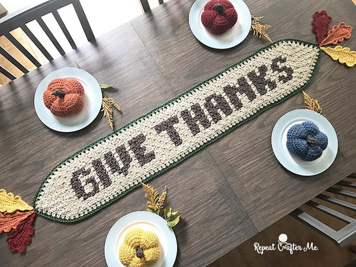 Give Thanks Crocheted Table Runner. Using the technique of corner to corner (C2C) crochet to create the letters of this table runner design. Sarah from Repeat Crafter Me shares her pattern and some helpful videos of how to do the C2C technique in her tutorial. Please share. You will always look forward to Mondays, with our craft inspiration roundups -CraftyLikeGranny.com #thanksgivingcrafts #crochetpattern #crochet