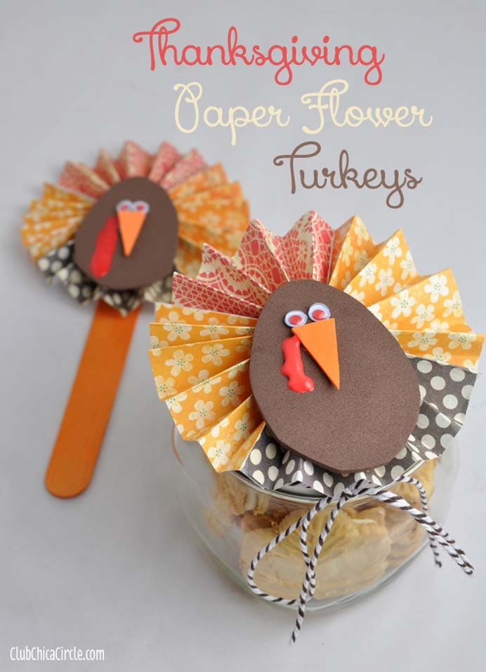 Thanksgiving Paper Flower Turkeys. These gorgeous paper flower turkeys can top a mason jar, a craft stick or be used as a table decoration. Super easy instructions to follow on Club Chica Circle. Please share and make Mondays fun, get our craft inspiration delivered to your inbox - CraftyLikeGranny.com #Thanksgivingcrafts #diy #crafts