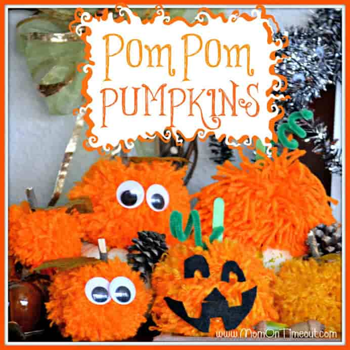 Pom Pom Pumpkins. These easy to make pom poms by Trish at Mom On Time Out, are easy and of course fun to do for little ones. Please share and make Mondays fun, get our craft inspiration delivered to your inbox - CraftyLikeGranny.com #halloweencraftsforkids #halloweencrafts #kidscraft