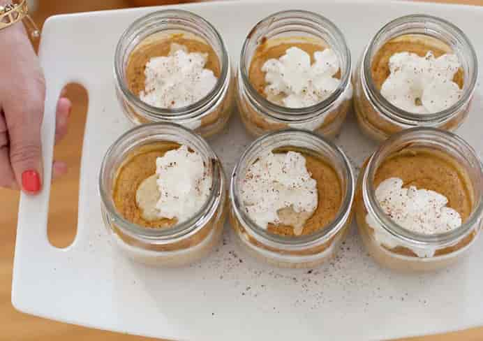 Pumpkin Pie in Jars Recipe for a hassle free winning dessert by A Beautiful Mess for Thanksgiving. Please share. Look forward to Mondays with our craft inspiration newsletter. Crafty goodness delivered to your inbox - CraftyLikeGranny.com