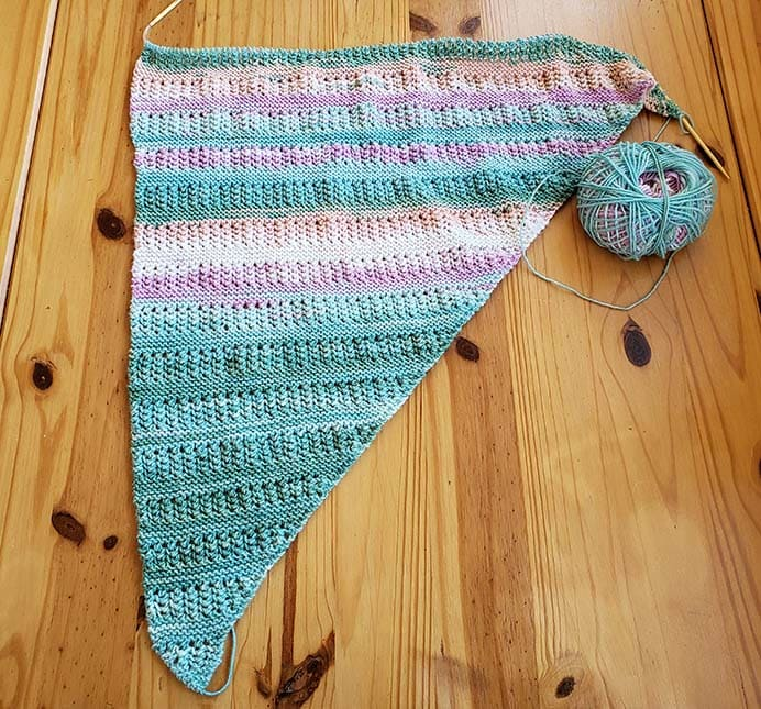 Ridged Shawl Knitting Pattern by Plymouth Yarns in Katia Baby Merino Plus