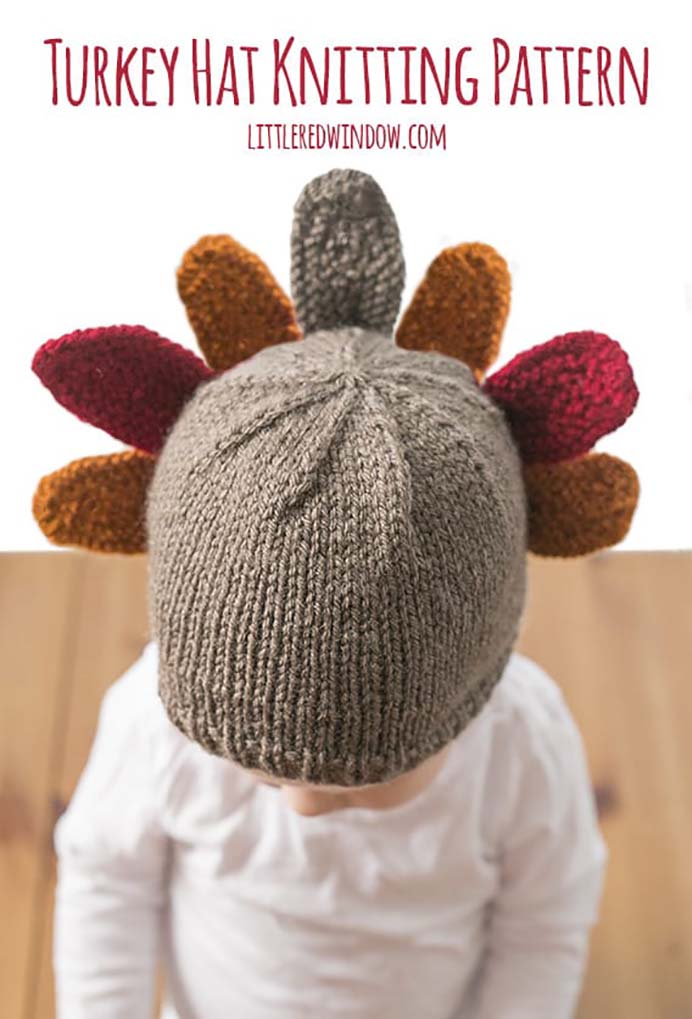 Thanksgiving Turkey Hat Knitting Pattern. A totally adorable knitted children's hat for Thanksgiving. Cassie from Little Red Window shares her Turkey Hat Knitting pattern and helpful tips. Please share. Look forward to Mondays with our craft inspiration newsletter. Crafty goodness delivered to your inbox - CraftyLikeGranny.com #thanksgivingcrafts #knittedhatpattern #knitting