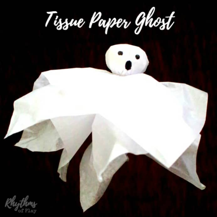 Tissue-paper-ghost. Super easy toddler halloween craft with very minimum materials. Nell at Rhythms of Play steps you through what to do. Please share. You will always look forward to Mondays, with our craft inspiration roundups -CraftyLikeGranny.com #halloweencrafts #kidscrafts