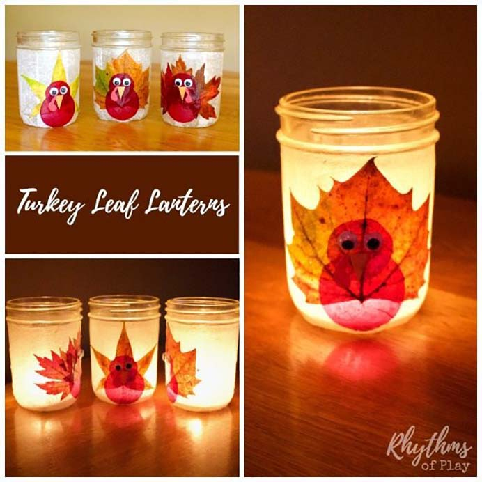 Turkey Leaf Lanterns. An opportunity to use real fall leaves and recycled jars to create these gorgeous lanterns. I love craft ideas that include nature and recycled materials. Follow Nell's tutorial on Rhythms Of Play. Please share. You will always look forward to Mondays, with our craft inspiration roundups -CraftyLikeGranny.com #thanksgivingcraft #masonjarcraft #diy