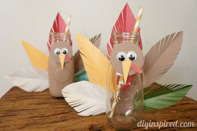 Turkey Upcycled Milk Bottles. A lovely crafty idea for some Turkey inspired bottles for drinks on the kids Thanksgiving table. Follow Dinah's tutorial on DIY Inspired. Please share. Join now for creative craft inspiration. The best in craft delivered to your inbox every Monday - CraftyLikeGranny.com #thanksgivingcrafts #upcycledcrafts #turkeycrafts