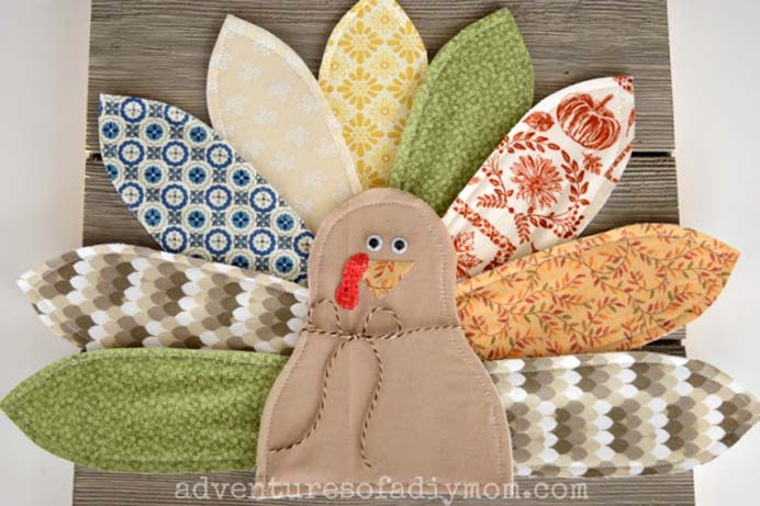 Thanksgiving Home Decor Turkey. This is a lovely idea for a handmade Thanksgiving decoration for the home. A good project for using up material scraps. Follow Rachel's tutorial on Adventures Of A DIY Mom. Please share. Make Mondays more manageable and sign up for our craft inspiration newsletter. Delivered to your inbox - CraftyLikeGranny.com #Thanksgivingcrafts #diy #crafts