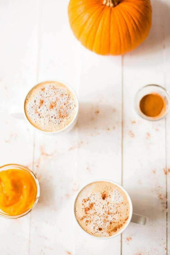 healthy-pumpkin-spice-latte by Sweet Pea Chef. Please share and make Mondays fun, get our craft inspiration delivered to your inbox - CraftyLikeGranny.com #thanksgivingrecipes #fallrecipes #thanksgiving