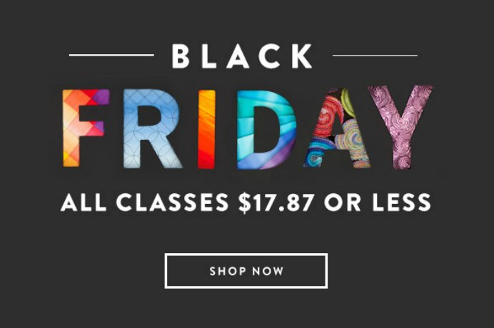 Craftsy The holidays are almost upon us - which means it's almost time for Craftsy's Black Friday and Cyber Monday event! This is Craftsy's biggest sale of the year, and they are offering exciting deals all weekend long. Class Offer: $17.87 USD or less on all Craftsy classes Supplies Offers: Up to 60% off Quilting project kits & supplies Up to 60% off Knitting and Crochet project kits & supplies Up to 50% off Cake Decorating project kits & supplies Cyber Monday Bonus Offer: Free gift with purchase Dates: Thursday 11/23 at 12:01am MST until Monday 11/27 at 11:59pm MST