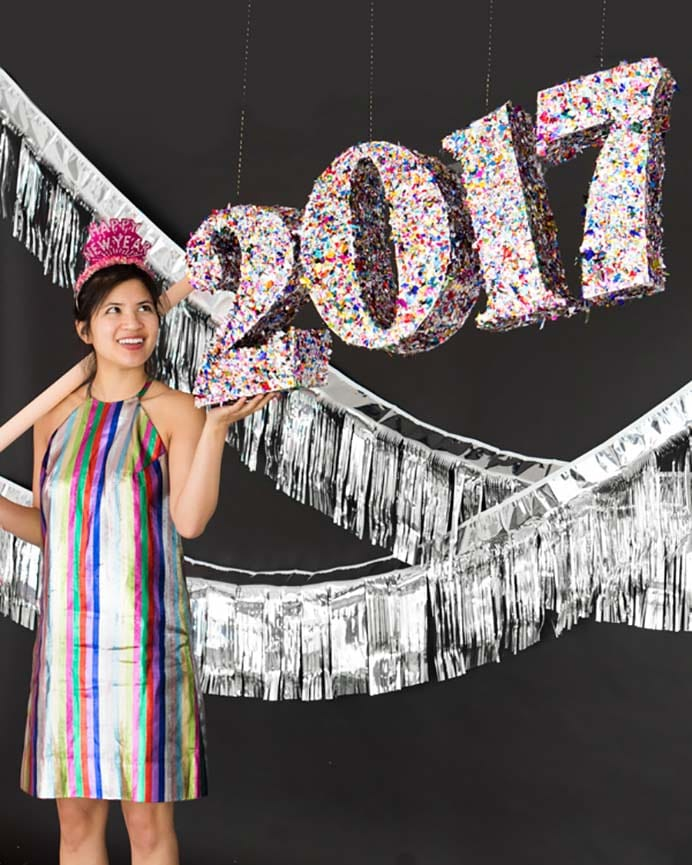 Make Your Own New Years Confetti Pinata. Clearly this pinata was created back when 2017 was on it's way :) The instructions will still help you make a number themed pinata. Follow the tutorial on Oh Happy Day. Guests will be super impressed with your craftiness! Please share and make Mondays fun, get our craft inspiration delivered to your inbox - CraftyLikeGranny.com #newyears #newyearseve #diycrafts