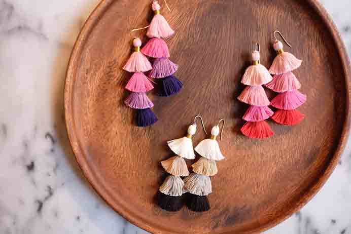 DIY Tassel Earrings. What fun these are! Stylish too :) Learn how to create your own tassel earrings by following The Stripe's tutorial.Please share. Join now for creative craft inspiration. The best in craft delivered to your inbox every Monday - CraftyLikeGranny.com #DIY #Jewelery