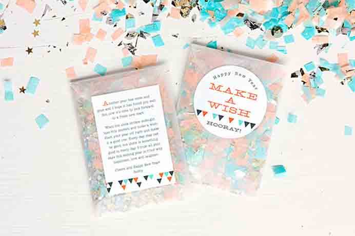 New Years Eve Confetti Favors Evermine. Give your guests an opportunity to make a wish for the coming year, as they throw your handmade confetti! Use any color scheme you like and of course add some sparkle with sequins and stars. Please share. The best in craft delivered to your inbox every Monday - CraftyLikeGranny.com #newyearparty