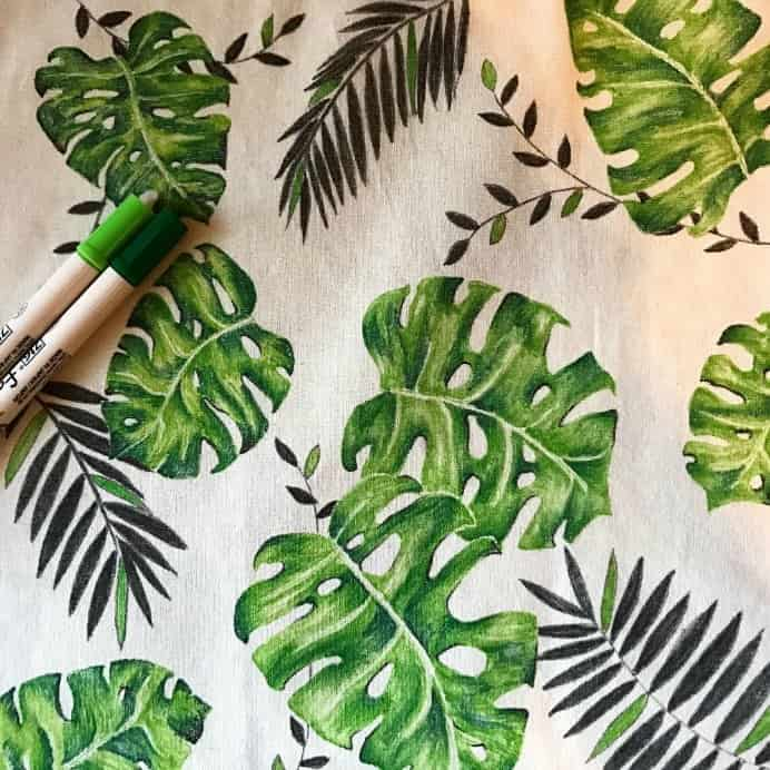 Large green Leaves from different plants drawn with fabric markers