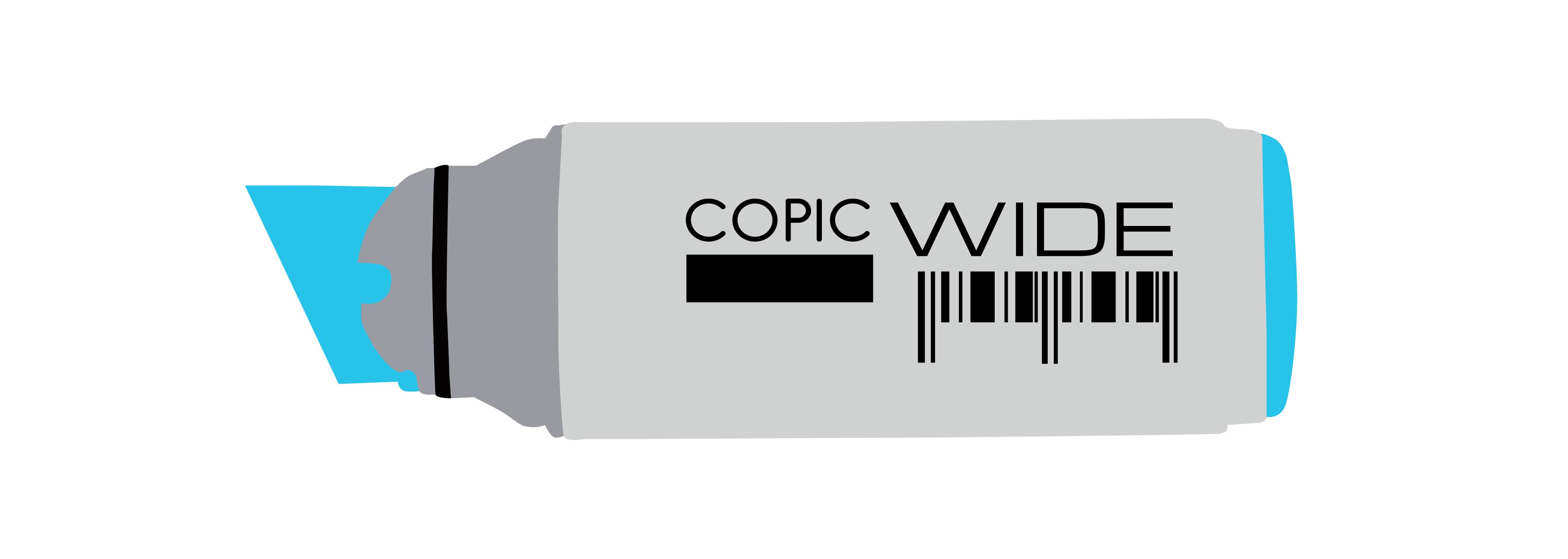 Vector illustration of Copic Wide Marker with wide chisel tip at one end