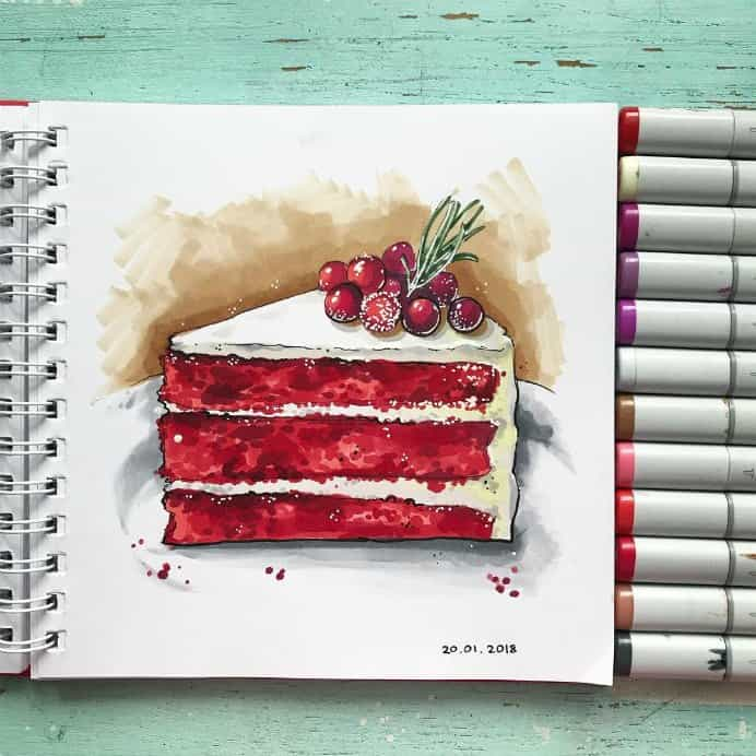 Liubov Druma on Instagram Red Velvet Cake With White Frosting and berries drawn with Copic Markers