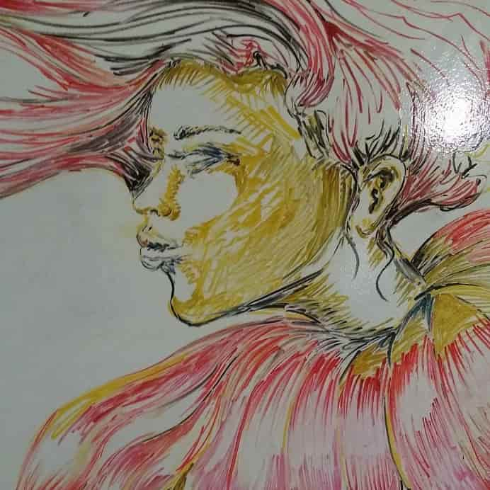 Sachi Rome on Instagram portrait of woman drawn with Dry Erase Markers