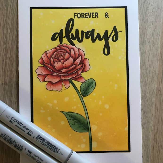 courtney_kreeber on Instagram Card with text Forever & Always with Red Rose drawn with Copic Sketch Markers