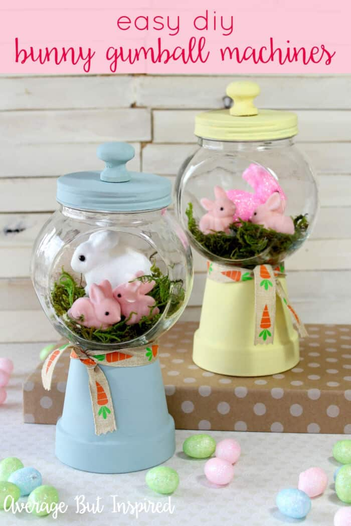 Adorable Spring Bunny Gumball Machine Craft by Average But Inspired