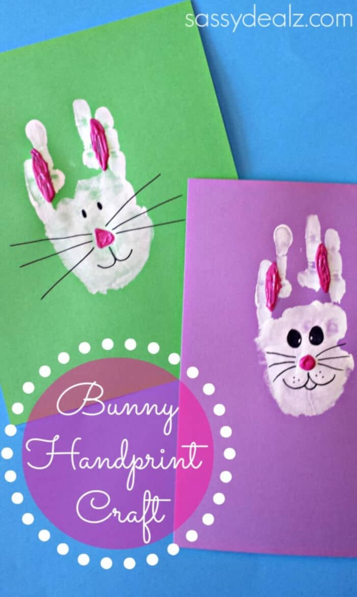 Bunny Handprint Craft by Crafty Morning