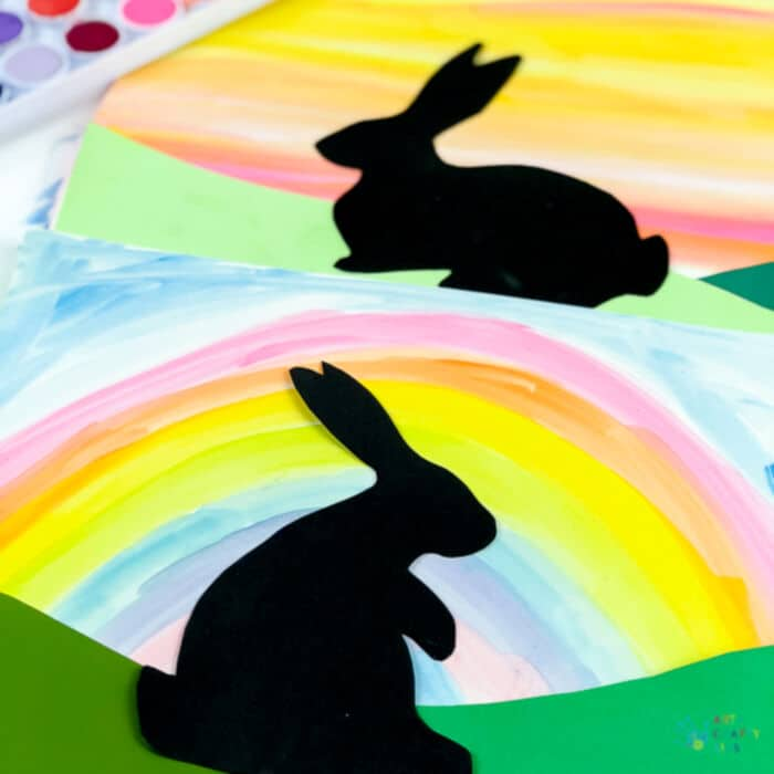 Bunny Silhouette Art by Arty Crafty Kids