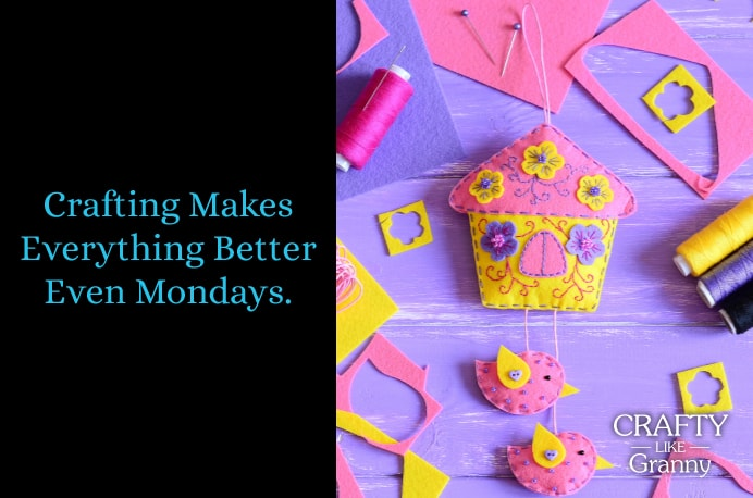 Crafting makes everything better even Mondays!! We hope that our Top 10 in Craft inspiration that's delivered every Monday, gets your week off to a great start :) This time of year brings renewed vigor and creativity, as we are surrounded by new life and growth in the nature around us. Check out what we've got for your craft projects. Please share and make Mondays fun, get our craft inspiration delivered to your inbox - CraftyLikeGranny.com #craft #knitting #knitting_inspiration #crochet