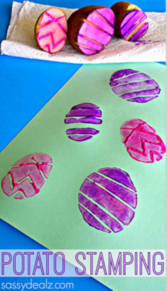 Easter Egg Potato Stamping Craft for Kids by Crafty Morning