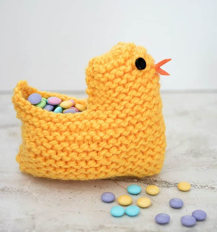Knit Easter Chick Basket by Gina Michele