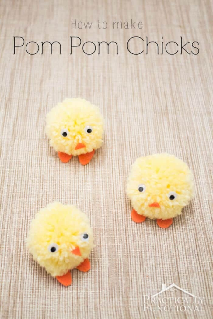 Pom Pom Chicks For Easter by Practically Functional