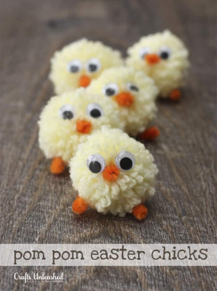 Pom Pom Easter Chicks by Crafts Unleashed