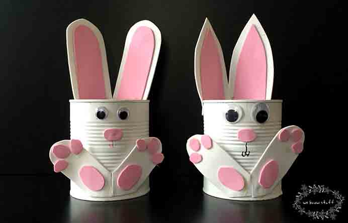Tin Can Bunny Planters. Get the kids involved for some Easter craft and create these cute Tin Can Bunny Planters. Denine and Daniele at We Know Stuff have an easy step by step tutorial to follow. Please share. The best in craft delivered to your inbox every Monday - CraftyLikeGranny.com #EasterCrafts