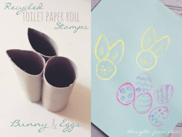 Recycled TP Roll Easter Bunny and Egg Stamps by Alice Wingerden