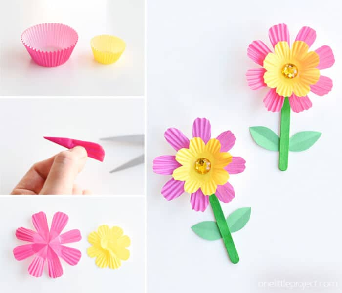 Simple Cupcake Liner Flowers by One Little Project