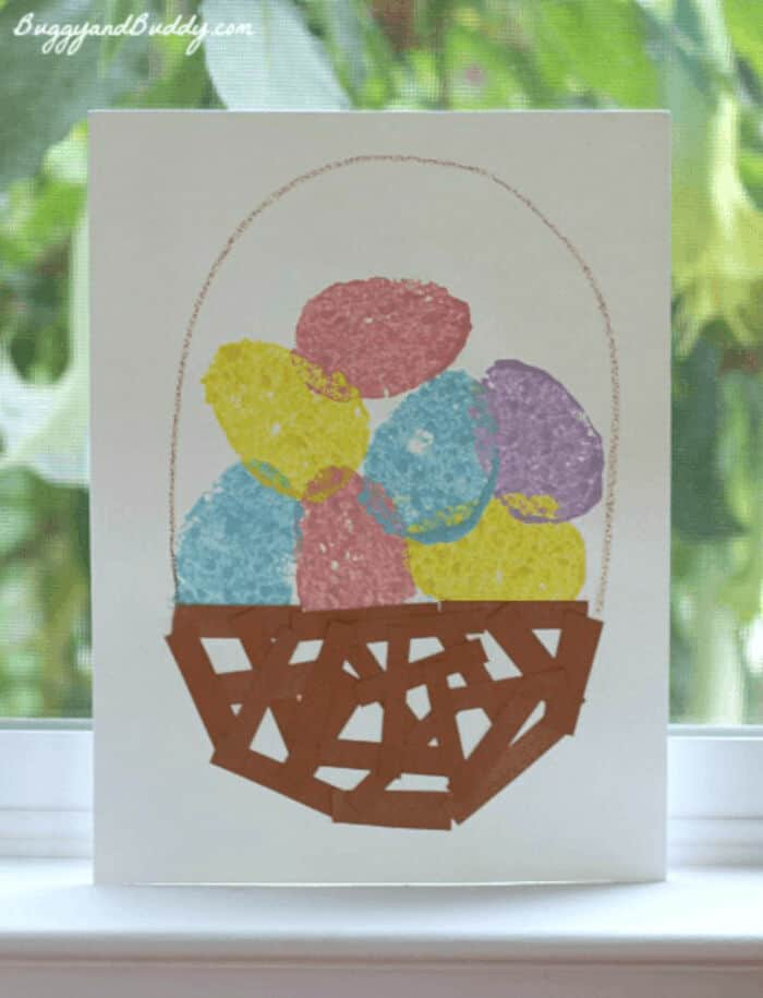 Sponge Painted Easter Egg Basket by Buggy and Buddy