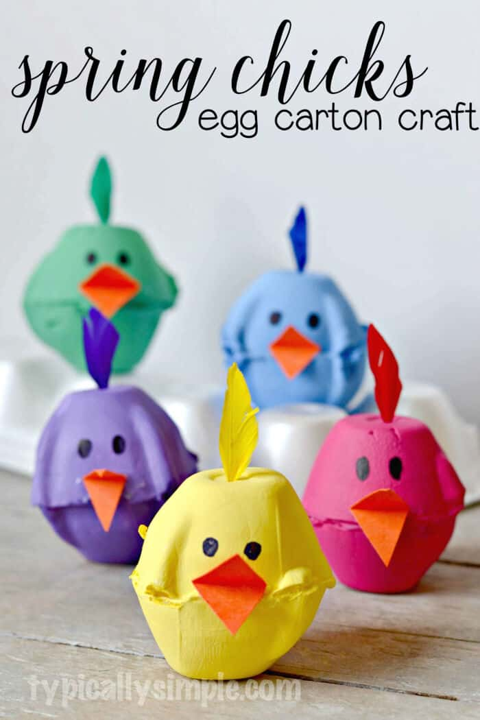 Spring Chicks Egg Carton Craft by Tipically Simple