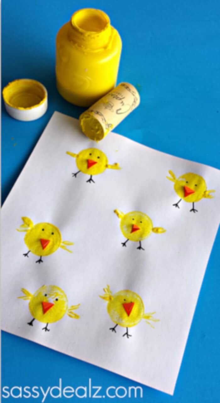 Wine Cork Chicks Craft for Kids by Crafty Morning