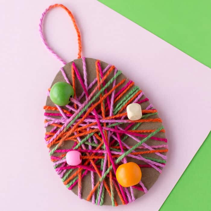 Yarn Wrapped Easter Egg Craft by Fireflies and Mud Pies